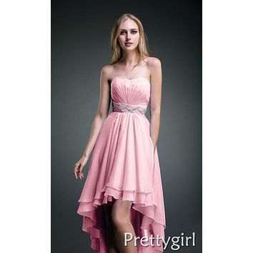 0015 2013 new arrival high low short front long back red plus size sweetheart strapless elegant dress for cocktail party