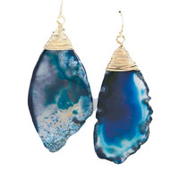 Agate Slice Earrings in Blue