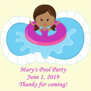 Pool Birthday Party Favor Tags Dark Skin