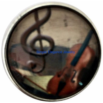 Violin Music Snap 20mm for Snap Jewelry (2051)