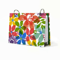 Bright watercolor flowers and stripes, teacher flashcard holder, journal, 3 x 5 or 4 x 6 index card binder with a set of index card dividers