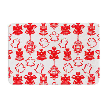 "Miranda Mol ""Angels Singing White"" Red Holiday Memory Foam Bath Mat"
