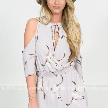 Bullhead Feather Grey Romper