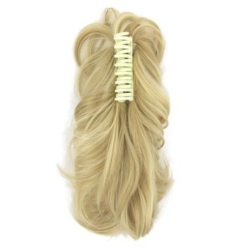 Soowee Synthetic Hair Claw Ponytails Little Pony Tail Horse Hair on Hairpins Fairy Tail Hairpieces for Hair on Clips