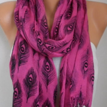 Hot Pink Peacock Print Cotton Scarf Graduation Gift Spring Summer Shawl Cowl Gift Ideas For Her Women Fashion Accessories Women Scarves