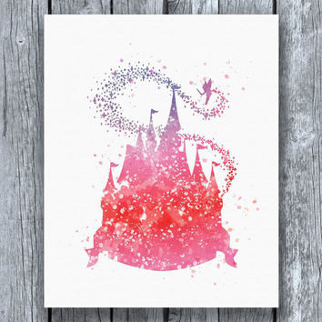Cinderella Disney Castle Watercolor Art Print Instant Download