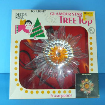 Vintage 1970s Christmas Glamour Star Tree Topper in original box