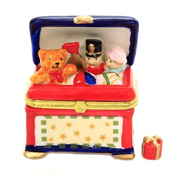 Hinged Trinket Box CHEST OF TOYS Porcelain Teddy Bear Soldier Doll Eb517