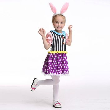 Kids Bunny Costumes Child Animal Cosplay Rabbit Costume Carnival Performance Clothes Cute Dot Dress with Bunny Ear Headwear 2017