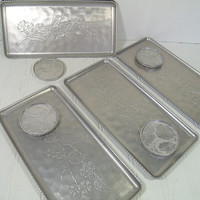 Vintage Hand Forged Aluminum Metal Trays & Matching Coasters - Retro Stamped Embossed Floral Design Silver Color Set of 8 Trays 12 Coasters