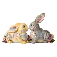 Heartwood Creek Two Sitting Bunnies w/Flowers Figurine by Jim Shore, New 4056940