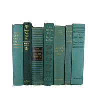 Green Books , Vintage Books , Decorative Books ,  Wedding Decor ,  Photo Prop , Instant Library , Shabby Chic Wedding
