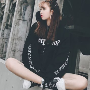 Thickening draw string hooded relaxed joker letters printing head Black