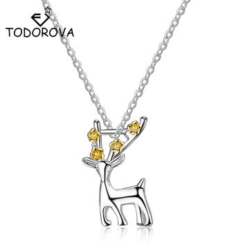 Todorova Lovely Cute Christmas Deer Necklaces with Flower Female Suspension Silver Color Chain Reindeer Animal Jewelry