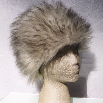 Faux Fur Hat - Carnaby Street Fashion - Fall Accessories - Vintage 60s Hat - FREE SHIPPING