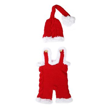Christmas Newborn Photo Props Baby Xmas Crochet Knit Costume Infant Hat Rompers Outfits Baby Photography Props