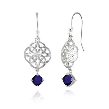 Celtic Knot Cushion-Cut Created Blue Sapphire Dangle Earrings in Sterling Silver