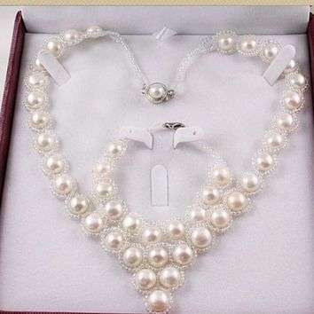 HOT CHEAP Real Freshwater Cultured Natural Pearl Necklace Bracelet Earrings Set Wedding Bridal Jewelry Set for Women