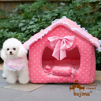 Washable 2 pieces dog puppy cave bed house with pillow small pet cat dog luxury pink Princess sofa Bed kennel dog mat cushion