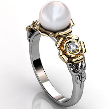 14k two tone white and yellow gold South Sea pearl diamond unusual unique floral engagement ring, bridal ring, wedding ring ER-1090-4