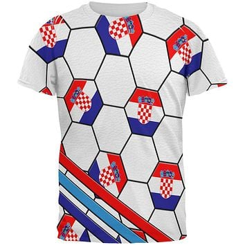 World Cup Croatia Soccer Ball All Over Mens T Shirt