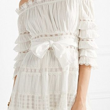 Going Together White Lace 3/4 Sleeve Off The Shoulder Ruffle Bow Belt Casual Mini Dress