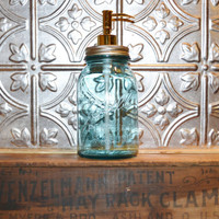 Mason Jar Soap Dispenser Blue Ball Perfect Mason by JudysJunktion