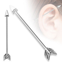 Arrow Industrial 14ga Surgical Stainless Steel Barbell Body Jewelry Ear Piercing Industrial Piercing Scaffold