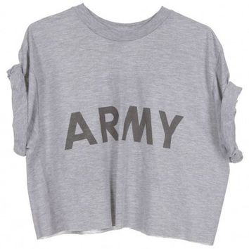 Rokit Recycled Grey ARMY Cropped T-Shirt - Vintage clothing from Rokit - cropped t-shirt, crop top, crop tee, belly top