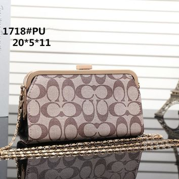 """Coach"" Women Wallet Fashion Classic Print Lock Buckle Metal Chain Single Shoulder Messenger Bag Handbag"