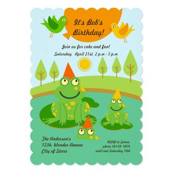 Frogs and Balloons Birthday Party invitation