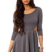 The Ponte Skater Dress with Cut Outs in Charcoal