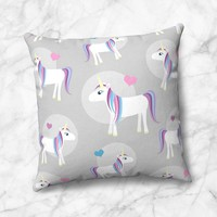 Happy Unicorn Pattern Gray Faux Suede Pillow