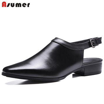 Asumer Square toe low heels shoes genuine leather slingbacks shoes spring autumn party work fashion shoes solid women pumps
