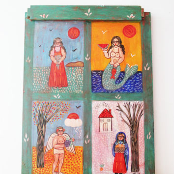 Four seasons painting, large folk art painting on wood, Greek folk art, vintage painting on salvaged wood, winter-spring-summer-fall
