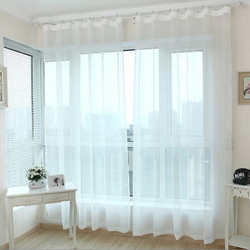 Finished window transparent voile curtains panel tulle curtains sheer curtains for living room clearance white curtains