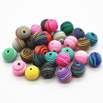 50pcs/lot Mix Color Polymer Clay Bead 14-15MM Ball Round Fimo Diy Jewelry Components Spacer Beads Jewelry Making Materials
