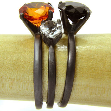 Silver Ring Stacking Set, Spooky Treasure Ring Set with Orange Sapphire Black Spinel and White Topaz