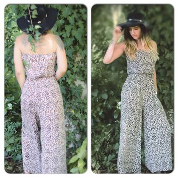 Vacation Leopard wide leg jumpsuit, boho