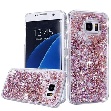 For Samsung Galaxy S7 Edge Case Crystal Clear Bling Glitter Hard Plastic Quicksand Phone Cases Cover For Galaxy S7 S6 Edge