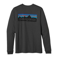 Patagonia Men's Long-Sleeved P-6 Logo Organic Cotton T-Shirt | Verdigris