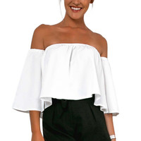 2016 Casual Tank Summer Sexy Off Shoulder Blouse Slash Neck Shirt Ruffles Cotton Women Tube Tops Tees