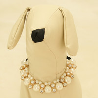 Dog jewelry, Pet Wedding accessories, Rhinestone and pearls, birthday, beaded Necklace