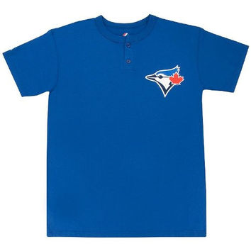 Toronto Blue Jays (YOUTH MEDIUM) Two Button MLB Officially Licensed Majestic Major League Baseball Replica Jersey