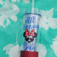 4th Of July Tumbler, Minnie Mouse Disney Tumbler, Patriotic Tumbler, Independence Day, Glitter Tumbler, Disney Tumbler