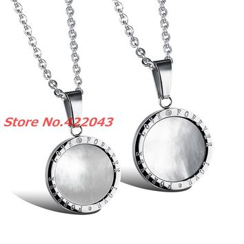 Unisex- Stainless Steel Round Silver With White Shell- Pendant Necklace -For Men- Women- Or Couple's.