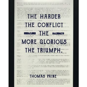 """Thomas Paine Harder the Conflict Greater the Triumph Quote Art Print Blue - 13x19"""""""