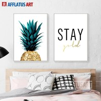 AFFLATUS Canvas Painting Pineapple Letter Realistic Style Wall Art Posters And Prints Wall Pictures For Living Room Study Decor