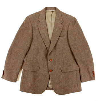 Vintage Sport Coat by Botany 500 - Tan Beige Herringbone Wool Blazer Jacket Ivy League Menswear - Men's Size 42 Large Lrg L