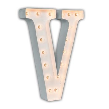 """24"""" Letter V Lighted Marquee Letters (White Gloss)"""